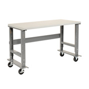 "60""W x 30""D Mobile Workbench - Plastic Laminate Safety Edge - Gray"