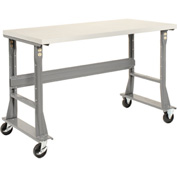 "60""W x 30""D Mobile Workbench - Plastic Laminate Square Edge - Gray"