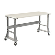 "72""W x 30""D Mobile Workbench - Plastic Laminate Square Edge - Gray"