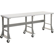 "96""W x 30""D Mobile Workbench - Plastic Laminate Square Edge - Gray"