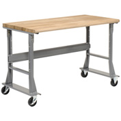 "72""W x 36""D Mobile Workbench - Maple Butcher Block Safety Edge- Gray"