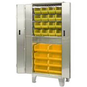 "Pucel Stainless Steel BiFold Door Cabinet BDSC-SS-3678-24 with 24 Yellow Bins 36""Wx24""Dx84""H w/ Legs"