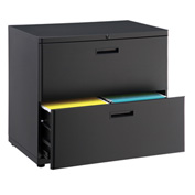 "Interion™ 30"" Lateral File Cabinet 2 Drawer Black"