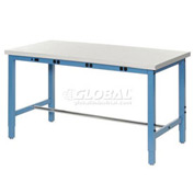 "72""W x 30""D Packaging Workbench with Power Apron - Plastic Laminate Safety Edge - Blue"