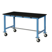 60X36 Phenolic Safety Edge Mobile Power Apron Lab Bench-Blue