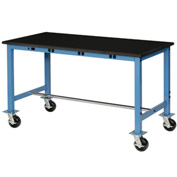 "72""W X 36""D Phenolic Safety Edge Mobile Power Apron Lab Bench, Blue"
