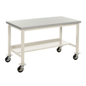 "72""W X 24""D Mobile Lab Bench with Power Apron - Plastic Laminate Square Edge - Tan"