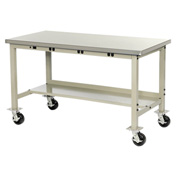 "60""W X 30""D Mobile Lab Bench with Power Apron - Stainless Steel Square Edge - Tan"