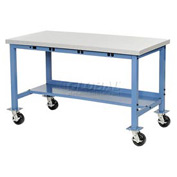 "72""W x 30""D Mobile Packaging Workbench with Power Apron - ESD Laminate Square Edge - Blue"
