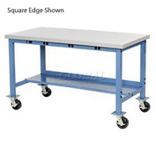 "60""W x 30""D Mobile Packaging Workbench with Power Apron - ESD Laminate Safety Edge - Blue"