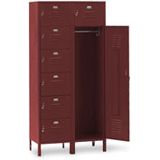 Penco 6573V736 Vanguard 7 Person Locker 36x18x72 Ready To Assemble Marine Burgundy