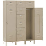 Penco 6577V073 Vanguard 8 Person Locker 54x18x72 Ready To Assemble Champagne