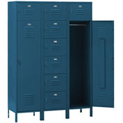 Penco 6577V806 Vanguard 8 Person Locker 54x18x72 Ready To Assemble Marine Blue