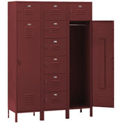 Penco 6577V736 Vanguard 8 Person Locker 54x18x72 Ready To Assemble Burgundy