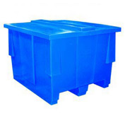 Bayhead SNP-5042-BLUE Nesting Pallet Container With Lid 50x42x33 1000 Lb Cap. Blue