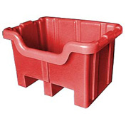 Bayhead MBF-1RED Hopper Front Plastic Container 28x20x18 300 Lb Cap. Red