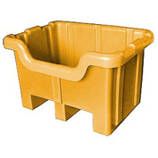 Bayhead MBF-2YELLOW Hopper Front Plastic Container 41x37x32 1000 Lb Cap. Yellow