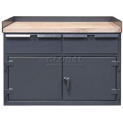 Strong Hold 62 x 30 Cabinet Workbench with Maple Top & Drawers