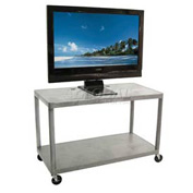 "Luxor Gray Plasma & Flat Panel Monitor Shelf Cart 28"" H 2 Shelves"