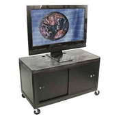 "Luxor Black Plasma & Flat Panel Monitor 2 Shelf Security Cart 24"" H"