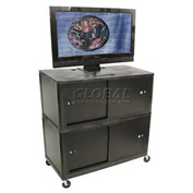 "Luxor Black Plasma & Flat Panel Monitor 3 Shelf Security Cart 44"" H"