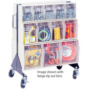 "Quantum Mobile Tip Out Bin Floor Stand QFS224-24+QFS400- Double Sided 24"" H Gray"