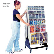 "Quantum Mobile Tip Out Bin Floor Stand QFS248-76+QFS400- Double Sided 48"" H White"