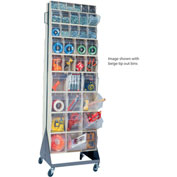 """Quantum Mobile Tip Out Bin Floor Stand QFS270-72+QFS400- Double Sided 70"""" H White"""