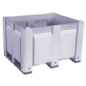 Decade M40SGY3 Pallet Container Solid Wall 48x40x31 Short Side Runners Gray 1500 Lb Capacity