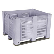 Decade M40PGY3 Pallet Container Vented Wall 48x40x31 Short Side Runners Gray 1500 Lb Capacity