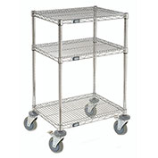 "Nexel™ 3-Shelf Chrome Wire Shelf Mobile Printer Stand, 24""W x 18""D x 39""H"