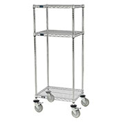 "Nexel™ Chrome Wire Shelf Mobile Printer Stand, 3-Shelf, 24""W x 18""D x 59""H"