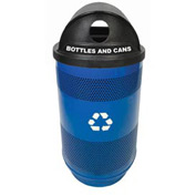 Recycling 55 Gallon Container with Plastic Liner & Dome Lid - Hole/Hole