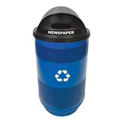 Recycling 55 Gallon Container with Two Plastic Liner & Dome Lid - Slot/Slot