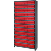 Quantum CL1275-601 Closed Shelving Euro Drawer Unit - 36x12x75 - 72 Euro Drawers Red