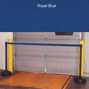 "Economic 49-1/2"" Black Poly Post with 87"" Retractable Tape Royal Blue"