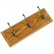 Safco® Wooden Wall Coat Rack, 3 Double-Hooks, Medium Oak