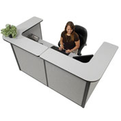 "Interion™ U-Shaped Reception Station, 88"" W x 44""D x 44""H, Gray Counter, Gray Panel"