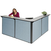 "L-Shaped Reception Station, 80""W x 80""D x 44""H, Gray Counter, Blue Panel"