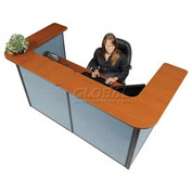 "Interion™ U-Shaped Reception Station, 88"" W x 44""D x 44""H, Cherry Counter, Blue Panel"