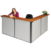 "Interion™ L-Shaped Reception Station, 80""W x 80""D x 44""H, Cherry Counter, Gray Panel"