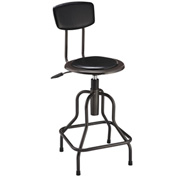 Vinyl Industrial Stool With Backrest - Pneumatic Height Adjustment