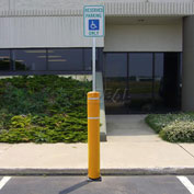 "52""H FlexBollard™ with 8""H Sign Post - Asphalt Installation - Yellow Cover/White Tapes"