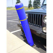 "52""H FlexBollard™ with 8""H Sign Post - Asphalt Installation - Blue Cover/Yellow Tapes"