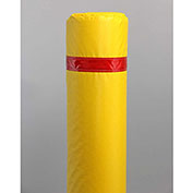 "50"" Soft Polyethylene Bollard Cover -  Yellow Cover/Red Tapes"