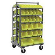 "Jamco Steel Mobile Sloped Top Bin Rack RB336-U6 - All-Welded with 58 Bins 36""W x 66""H"