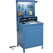 "Shop Desk w Lower Cabinet and Pigeonhole Compartment with Pegboard Riser 34-1/2""W x 30""D x 80""H"