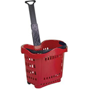 VersaCart ® Plastic Rolling Shopping Basket 43 Liter Red - Pkg Qty 6
