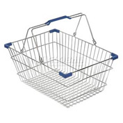 VersaCart ® Wire Shopping Basket 28 Liter With Blue Plastic Grips - Pkg Qty 20