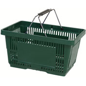 VersaCart ® Green Plastic Shopping Basket 28 Liter With Black Plastic Grips Wire Handle - Pkg Qty 12
